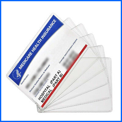 6 Pack New Medicare Card Holder Protector Sleeves 12Mil Clear Soft Waterproof