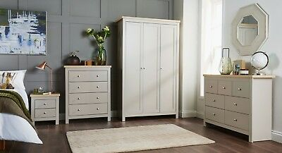 GREY OAK BEDROOM Furniture Two Tone Chest of Drawers ...