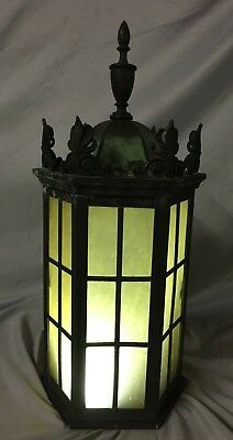 Antique Cast Bronze Sconce Mission Stain Glass Brass Outdoor Light  122-19C