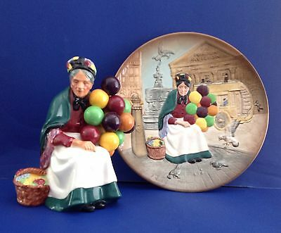 Royal Doulton Old Balloon Seller Plate & Figurine SET  D6649, HN1315  SALE PRICE