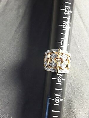IVANA TRUMP Sterling Silver .925 GOLD PLATED ART DECO Ring SZ 10(DONALD TRUMP)