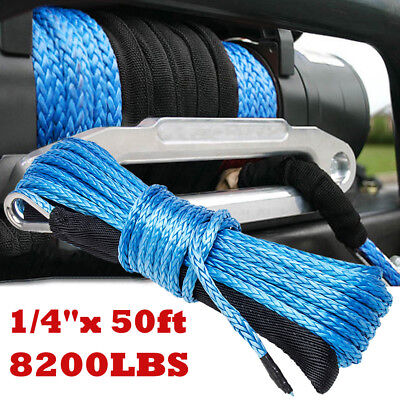 """1//4/""""x 50ft Blue 8200lbs Synthetic Winch Rope Cable Line for SUV ATV UTV Off-road"""