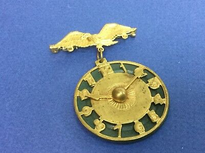 Vintage Celluloid & Brass Clock dial w/ Eagle Pin Brooch
