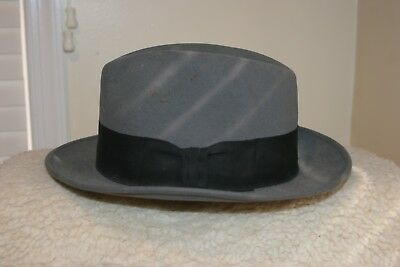d1b1bf29fee91 MEN S ROYAL STETSON Fedora Black HAT Feather Size 7 3 8 w  Original ...