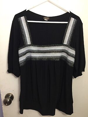 cf842b13278 Womens Plus Size 3x Siren Lily Black SS Square Shimmery Black Silver Square  Neck