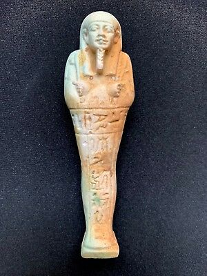 Egyptian Faience Ushabti Ancient Artifact - Fine Detail (Late Period 664-332 BC)