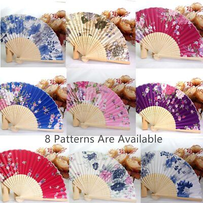 Portable Women's Hand Held Folding Fan Beautiful Satin Fan with Bamboo Frame U2