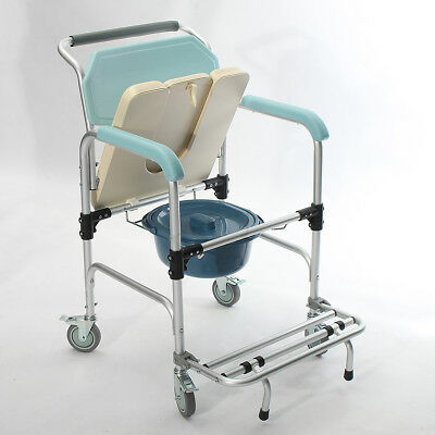 3 in 1 Commode Wheelchair Rolling Mobile Bedside Toilet Shower Chair Seat AU