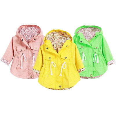 Jacket Autumn Kid Outerwear Baby Infant 2-7y Cotton Girls Hooded Toddler Coat