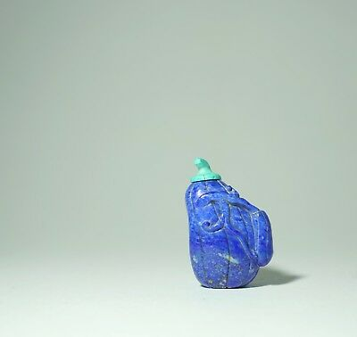 A Chinese Lapis Lazuli 'Gourd' Snuff Bottle