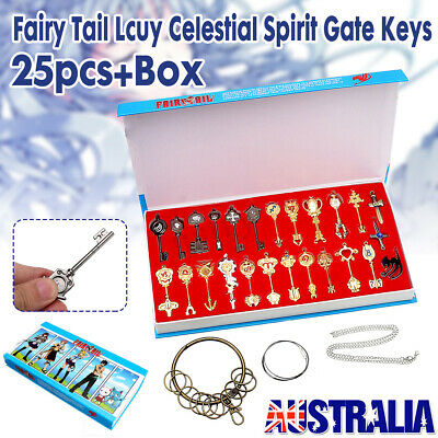 25pcs Anime Fairy Tail Key set Lucy Heart Keychain Necklace Pendant Cosplay Gift