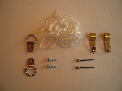 SMALL PICTURE HANGING KIT Cord  D-Rings Hooks & Fixings
