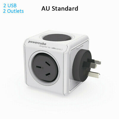 Original Allocacoc PowerCube Cordless Power Board Charger Grey 2 Outlets + 2 USB