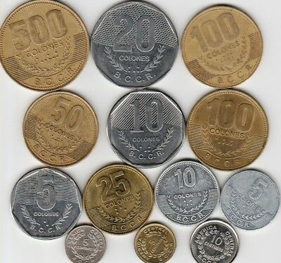 13 different world coins from COSTA RICA