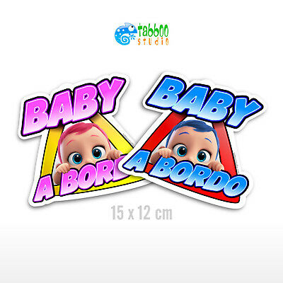 Adesivo bimba bimbo baby a bordo Baby on board auto car stickers bambino bambina