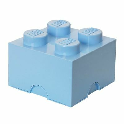 Lego Storage Brick Box 4 Knobs Stackable Kids - Light Blue