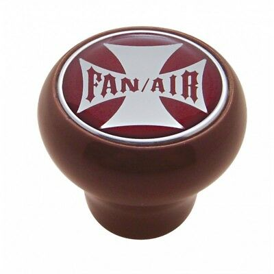 Wood knob fan/air red Maltese cross sticker Peterbilt Kenworth Freightliner