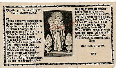 Nr 23907  Andachtsbild holy card  Stich Gebet Mutter Gottes  Maria um 1800
