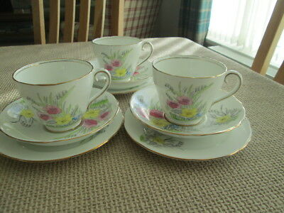 Set Of 3 Adderley Pretty Floral Trios Tea Cups, Saucers And Tea Plates