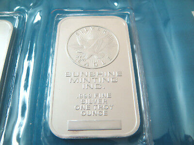 1 oz SUNSHINE MINTING INC.-SMI-SILVER EAGLE BAR-IN MINT PLASTIC-.999 FINE Ag.