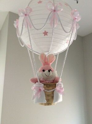 Pink bunny,in a hot air balloon  nursery lightshade