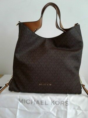 890d0cad6f72 MICHAEL KORS SIGNATURE Devon Mocha Large Shoulder Tote Bag Purse ...