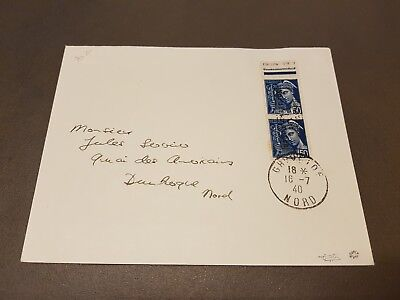 LOT #328-16 FRANCE lettre Dunkerque paire timbre n°3 signé x2 TB bord feuille