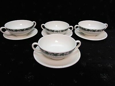 4 Sets Stratford Wedgwood Edme Cream Soup 2-Handled Bowls & Underplates