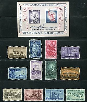 US 1956 Commemorative Year Set -Complete MNH 12 Stamps 1 Sheet Scott 1073-85 USA