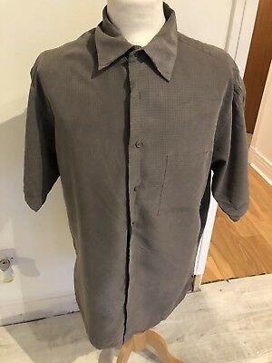 VINTAGE 80's GREY CHECK SILKY BAGGY  RETRO SHIRT MEDIUM