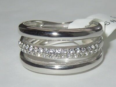 1176 Simulated Diamond Ring Sterling Silver Band Chunky Stamped Womens