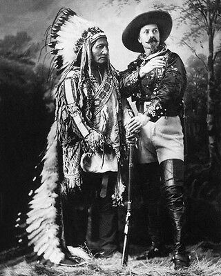 1885 BUFFALO BILL & CHIEF SITTING BULL Glossy 8x10 Photo Print Vintage Poster