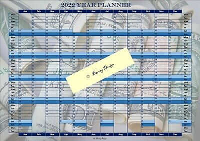 Year Planner Calendar Office 2019 -w/ different Darary Designs - A3/A4 Laminated