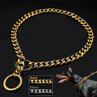 Heavy Duty Dog Stainless Steel P Choke Check Chain Collars Training Slip Gold