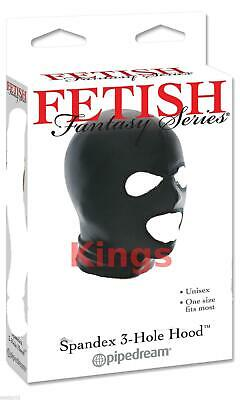 Spandex Hood Full Mask Open Mouth & Eyes 3 Holes Stretchy Black Gimp Mask Hood