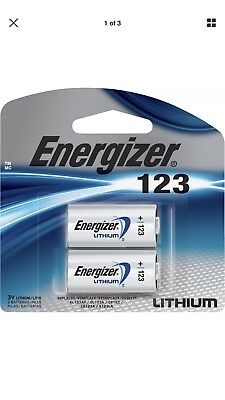 2 Pack Energizer Lithium 123 Cr123A 3V Photo Battery - Latest Exp. 12-2028