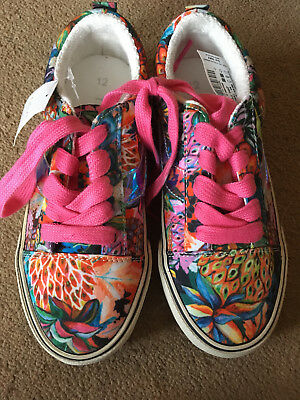 BNWT NEXT Girls Multi Floral Print Lace Up Canvas Shoes Pumps Trainers