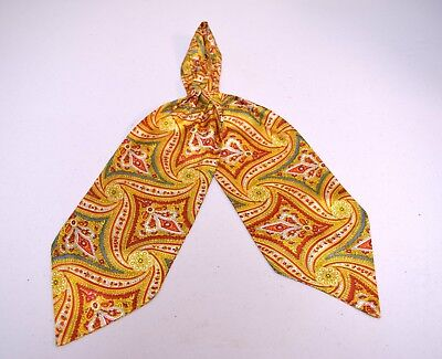 VINTAGE 1930s/1940s Orange Gold Red Blue Gray Paisley Print Rayon Ascot