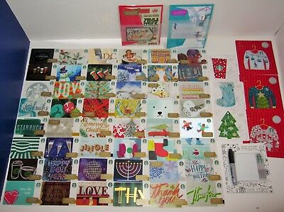STARBUCKS 2016 Gift Card Complete Set 55 CHRISTMAS Holiday LOT NEW + DC BRAILLE