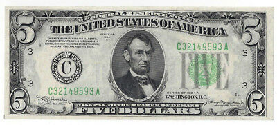 Series 1934 A Five Dollar Federal Reserve Note Fr 1957-E