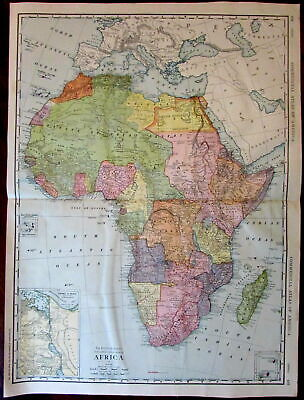 Africa continent 1912 German Colonial possessions Rand McNally huge color map