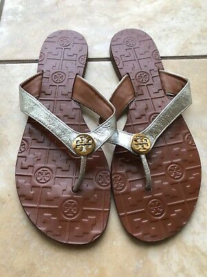 8cadef48995c89 TORY BURCH THORA Flip Flop Thong Sandals Silver Leather Gold Size 8 ...