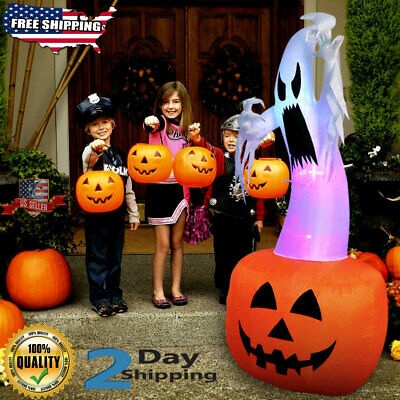 6ft Halloween Inflatable Ghost AirblownPumpkin Color LED In-Outdoor Decorations