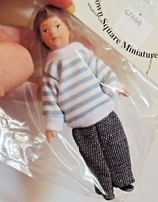 "MODERN PORCELAIN BOY DOLL CLOTHED 1:12 FULLY POSABLE 4.25"" Tall TOWN SQUARE"