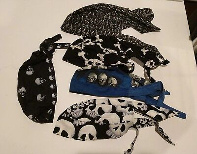 Lot of 5 Skull Cap Head Wrap Du-Rag Skulls Skeletons Bones Pre-owned