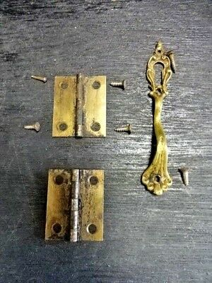 "Vintage Door Handle Lockset Brass Handle 3 5/8"" Small Key Hole Hinge Set Salvage"