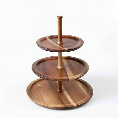 GOURMET KITCHEN Acacia 3 Tiers Serving Tray| Customise Tiers Assemble Cake Stand