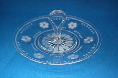 Depression Clear Glass 9 Inch Tidbit Plate With Rounded Handle & Etched Flowers