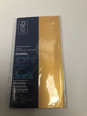 La Carta DL envelopes premium 120gsm metallic gold10 pack NEW
