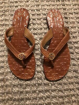 f3cfbecbeea3 TORY BURCH THORA Flip Flop Sandals Metallic Silver Leather Gold Size ...